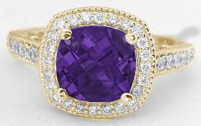 amethyst gold rings images Cushion amethyst and diamond halo ring in 14k yellow gold with jpg