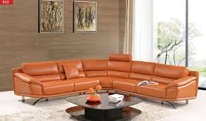 Reclining Leather Sectional Sofas by 533 Leather Sectional Sofa In Orange Free Shipping Get Furniture
