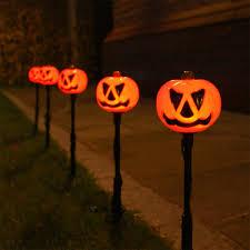 Halloween Outside Lights by Outdoor Halloween Pumpkin Stake Lights Orange Leds Outdoor