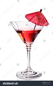 cocktail martini red cocktail martini glass umbrella stock photo 64529083