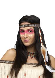 Native Indian Halloween Costumes Bead And Feather Native American Headband
