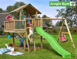 chalet climbing frame with balcony module and double swing play