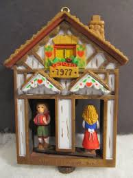 vintage hallmark weather house turn about ornament 1977