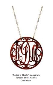 Circle Monogram Necklace Acrylic Monogram Necklace Fresh Ink