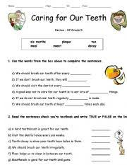 caring for our teeth worksheet