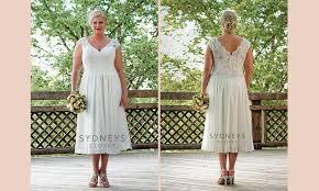 plus size wedding dress spotlight lace u0026 chiffon tea length