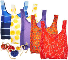 Reusable Shopping Bags Kikkerland Set Of 5 Reusable Shopping Bags With Pouches Page 1