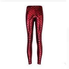 red patterned leggings women s mermaid pattern print skinny pants stretch leggings 8 69