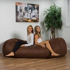 amazon com larson faux suede 8 foot lounge beanbag chair brown