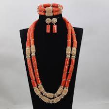 long orange necklace images Buy fashion long orange coral beads jewelry set jpg