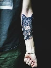 abstract style black and white wolf tattoo on arm tattoo tf