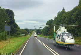 four vehicle pile up leaves two dead and eight injured on a69 in