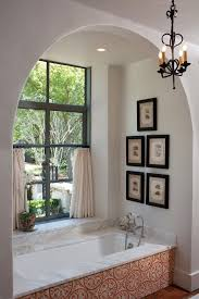 curtains for arched with oval tub concrete wall stone surround
