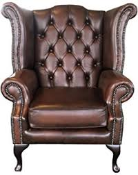 Queen Anne Wingback Chair Leather Handmade Chesterfield Queen Anne High Back Wing Chair In Vintage