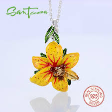 sted necklace flower pendants fit for necklace yellow flower enamel pendant 925