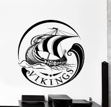 vinyl wall decal drakkar dragon ship middle ages warriors home