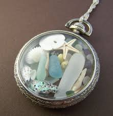 How To Make Jewelry From Sea Glass - neptune sea glass locket vintage pocket watch case with sea