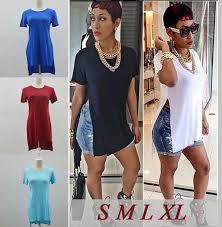 2015 celebrity ladies summer open side split slit top maxi tshirt