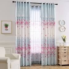 Ombre Window Curtains Blue Floral Curtains Pink Yellow Black Green Vintage