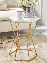 Brass Accent Table Two S Company Tozai Hexagonal Marble Top Gold Brass Accent Side