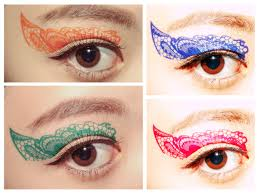 value set 4 pairs color lace eye temporary tattoo makeup