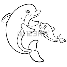 coloring pages marine wild animals mother dolphin swims with