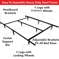 King Mattress Foundation Amazon Com Hlc Adjustable 8 Wheel Metal Bed Frame Mattress