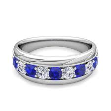 types of mens wedding bands diamond and sapphire mens wedding band ring in 18k gold
