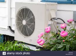Window Unit Heat Pump Air Conditioning Heat Pump Unit On The Side Of A Home Among The