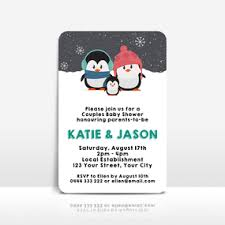 penguin baby shower baby shower invitations for a baby boy event press