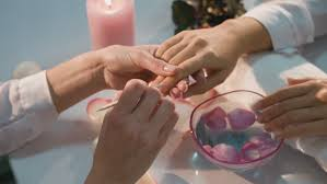 beauty care closeup beautiful woman hand with healthy natural