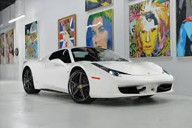 white 458 spider 458 spider front with top white luxury car rental