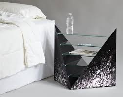 glass side tables for bedroom unique glass side table design with nice shelves for modern bedroom