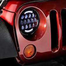 headlights jeep wrangler lumen jeep wrangler 2007 2017 7 black projector led