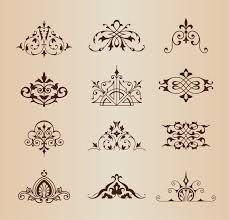 set of vintage ornaments with floral elements vector illustration