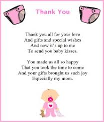 baby shower thank you baby shower thank you poems baby shower simplicity