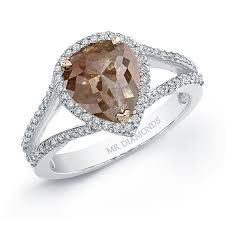 browns wedding rings white gold pear shaped cut halo brown diamond ring