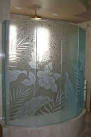 Decorative Shower Doors Hibiscus Paradise Glass Shower Etched Glass Tropical Style