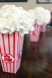 a big top baby shower popcorn hydrangea and centerpieces