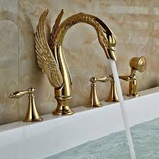 Brass Bathroom Faucet by Senlesen 3 Holes Deck Mounted Gold Brass Bathroom Tub Faucet Three