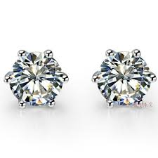 gold diamond stud earrings 2ct classic 6 prongs earrings gold lovely diamond stud