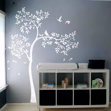 Nursery Wall Mural Decals White Tree Wall Decal Vinyl Sticker Birds Tree Baby Nursery