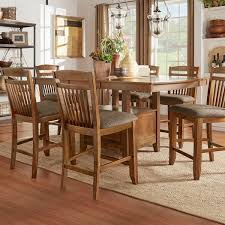 Counter Height Extendable Dining Table Octavia Warm Oak Counter Height Storage Base Extending Dining Set