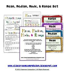 mean median mode range pack math centers flashcards anchor charts