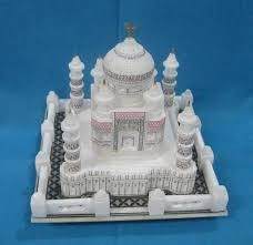 Marble Temple Home Decoration Italian Marble Taj Mahal Replica Dining Inlay Table Top Exporter
