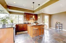 Kitchen Green Kitchen Colors Stock Luxury Kitchen Interior With Green Walls And Stone Floor And