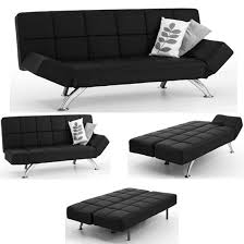 Black Sofa Bed Venice Sofa Bed Faux Leather In Black With Chrome Legs Black