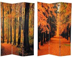 6 ft tall double sided autumn trees room divider rustic