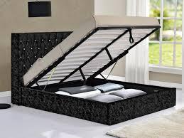 tgc drogo king size black crushed velvet glitz fabric ottoman bed