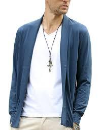 elastic mens shawl collar open cardigan lightweight sweater no button